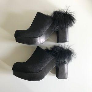 Rachel Comey Black platform clogs in calf hair